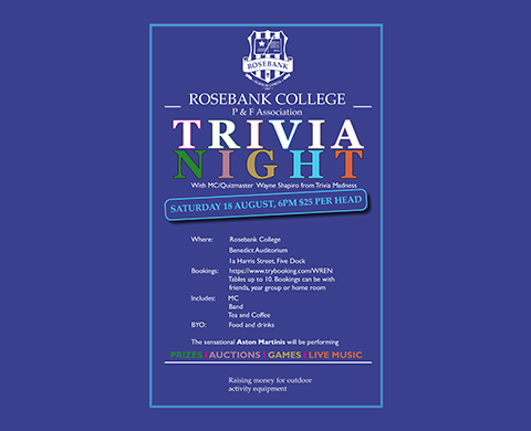 The Annual Trivia Night will be held on Saturday 18 August