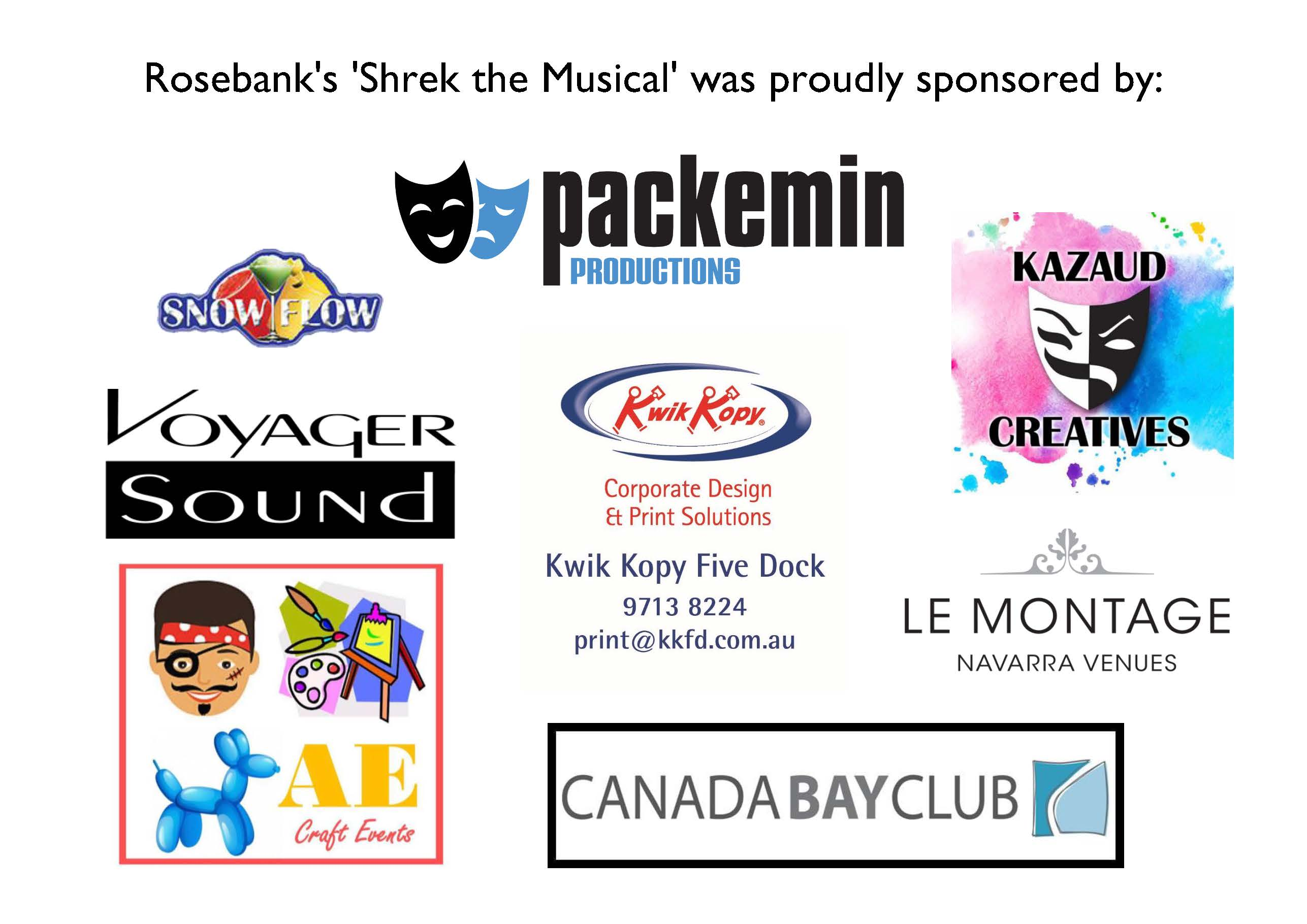 "Thank you to our Sponsors of ""Shrek"" The Musical"